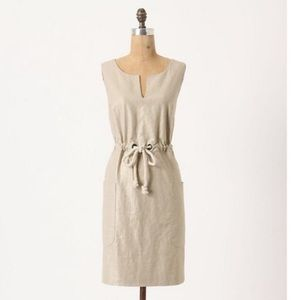 Anthropologie Maeve flaxen shimmer linen dress